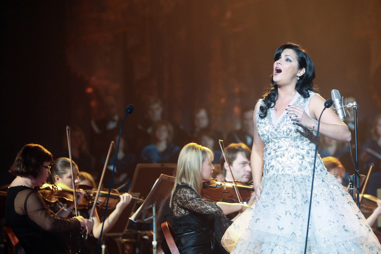 Netrebko recorded the album with the Symphonic Orchestra of the St. Cecilia National Academy in Rome. Photo: Soprano Anna Netrebko performs at the Opera Gala in St. Petersburg Conservatory's Opera House.