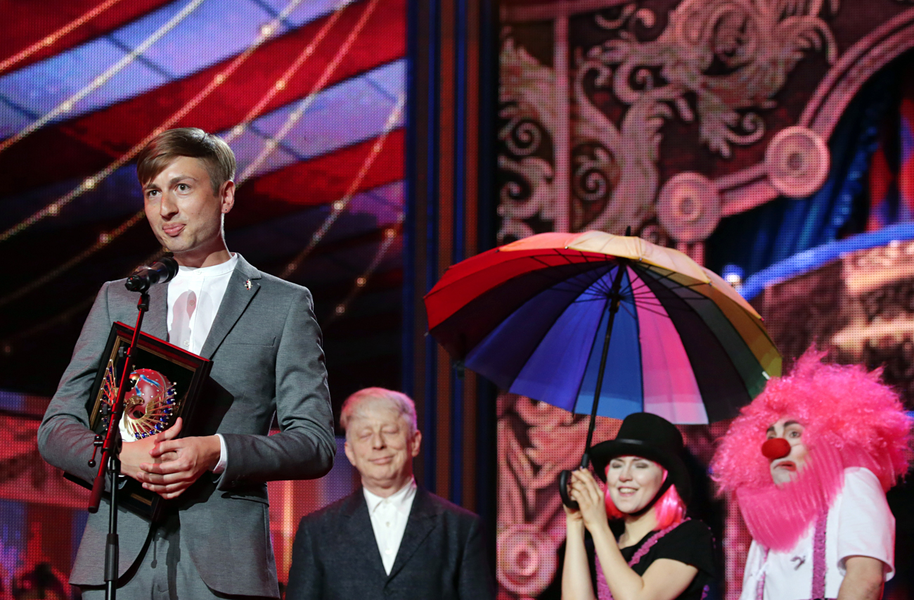 Composer Ilya Demutsky accepts an award for Best composer for A Hero of Our Time ballet (Bolshoi Theatre) at the 2016 Golden Mask award ceremony at the Stanislavsky and Nemirovich-Danchenko Moscow Music Theatre.