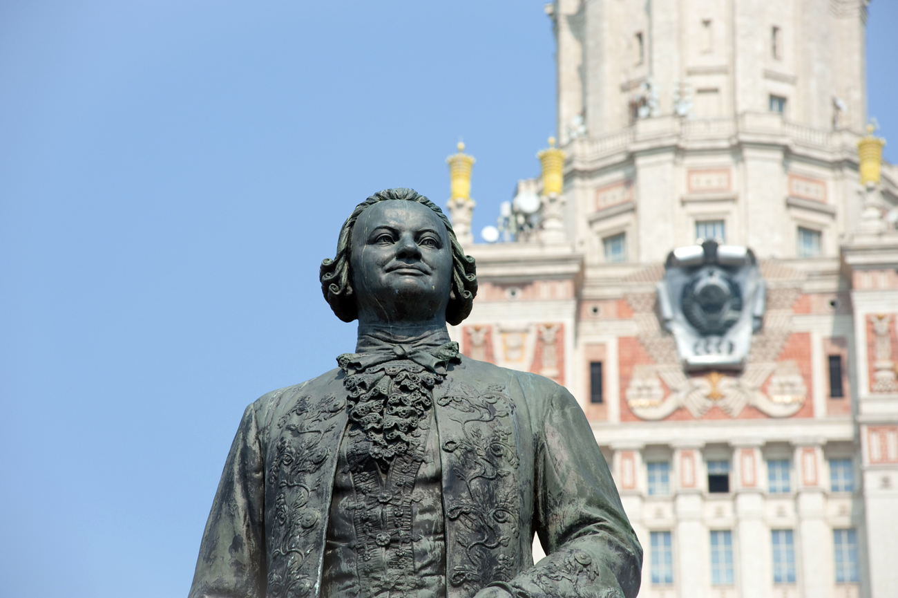 A monument to Mikhail Lomonosov near the main building of the Moscow State University.