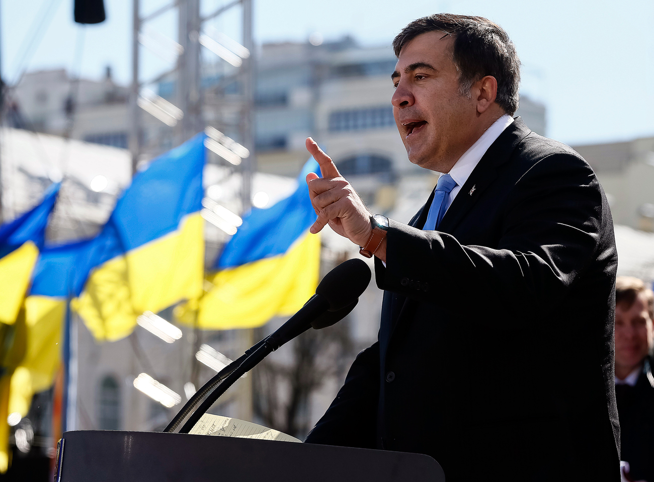 Former Georgian president Mikhail Saakashvili addresses members of a Batkivshchyna party during a meeting in central Kiev.