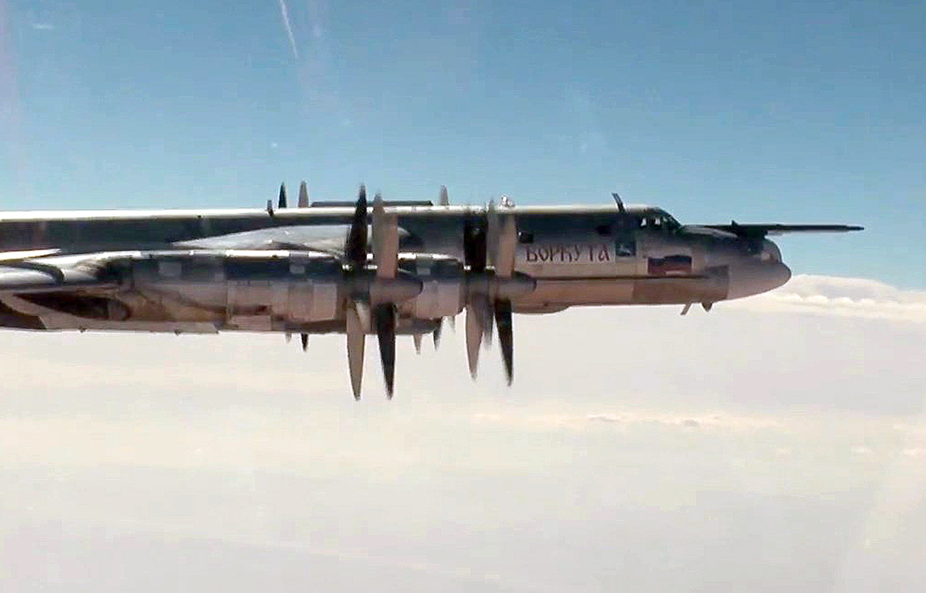 A Tupolev Tu-95MS strategic bomber of the Russian Aerospace Forces on a mission to carry out airstrikes against Islamic State and Jabhat al-Nusra (terrorist organizations banned in Russia) targets in Syria