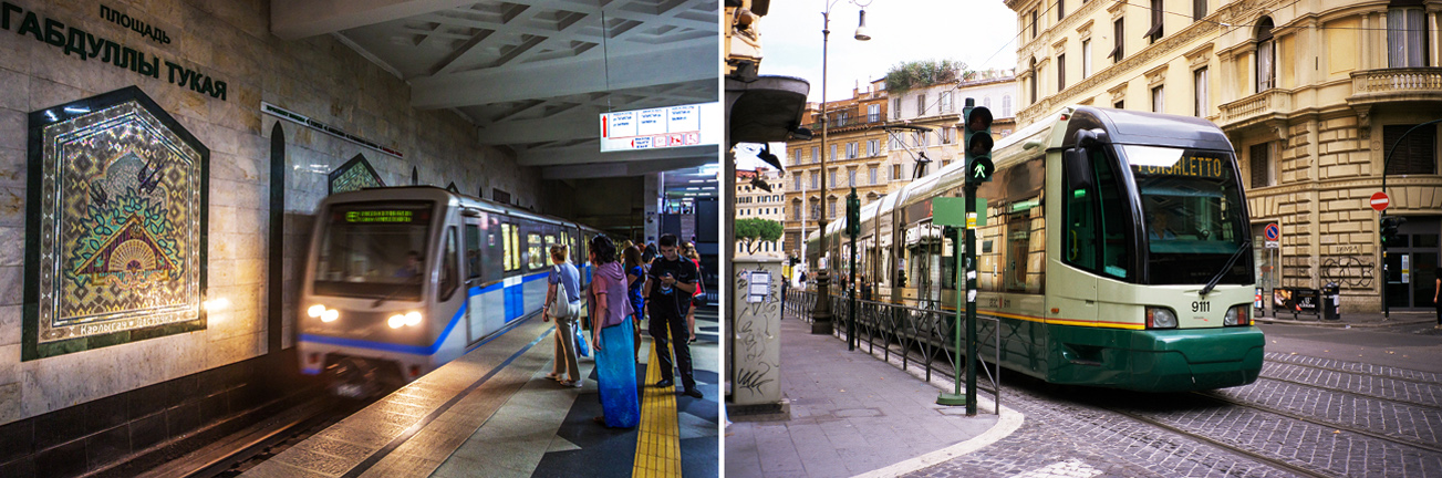 Esq: Metrô em Kazan; dir: Bonde em Roma Foto: Ígor Aleiev/TASS; AFP/East News