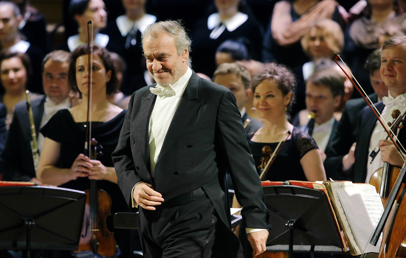 Mariinsky Theatre artistic director, conductor Valery Gergiev seen after a concert given by the Mariinsky Theatre Orchestra at the Moscow Conservatory.