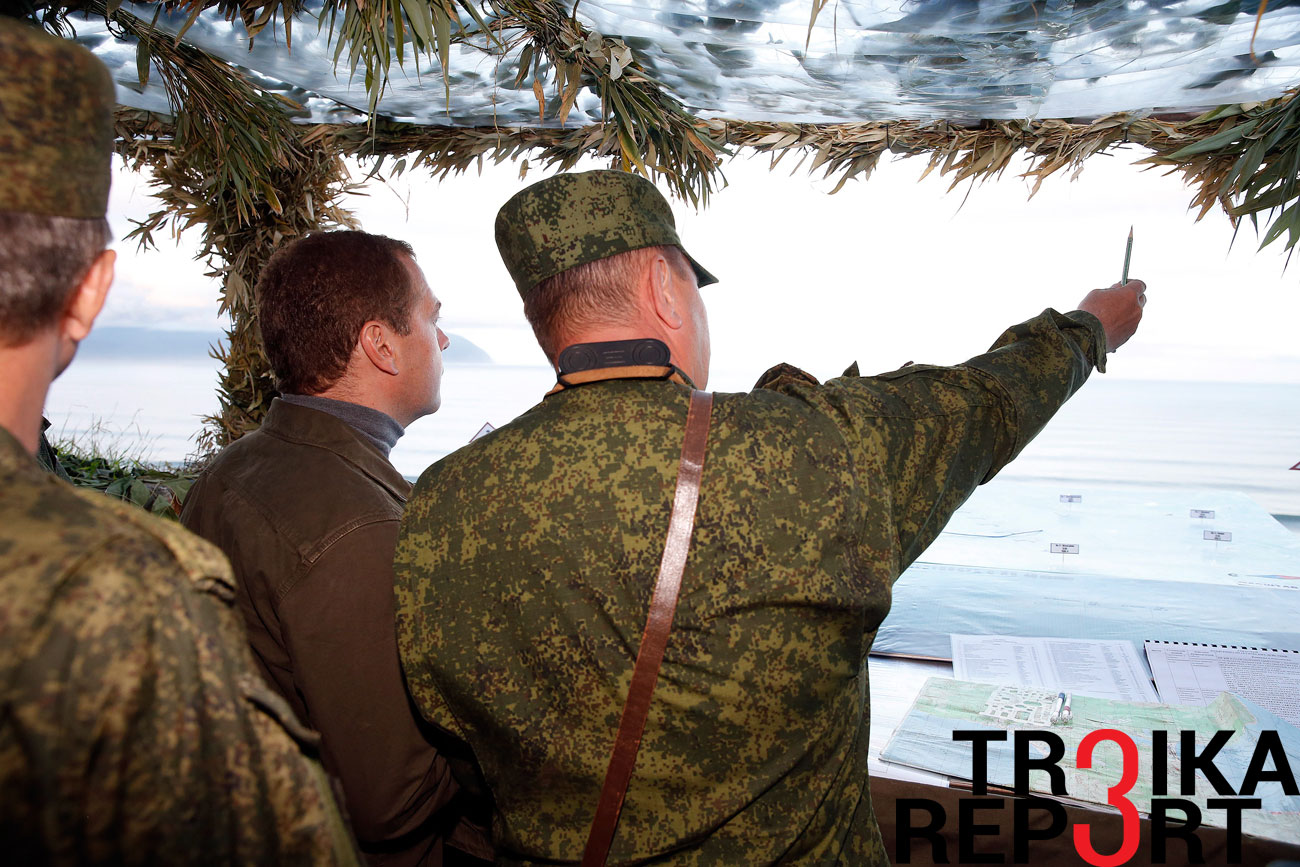 Russia's Prime Minister Dmitry Medvedev visits Iturup Island, one of the Kuril Islands.