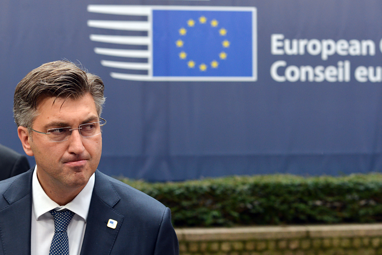 Prime Minister of Croatia Andrej Plenkovic at the opening of the EU Summit in Brussels.