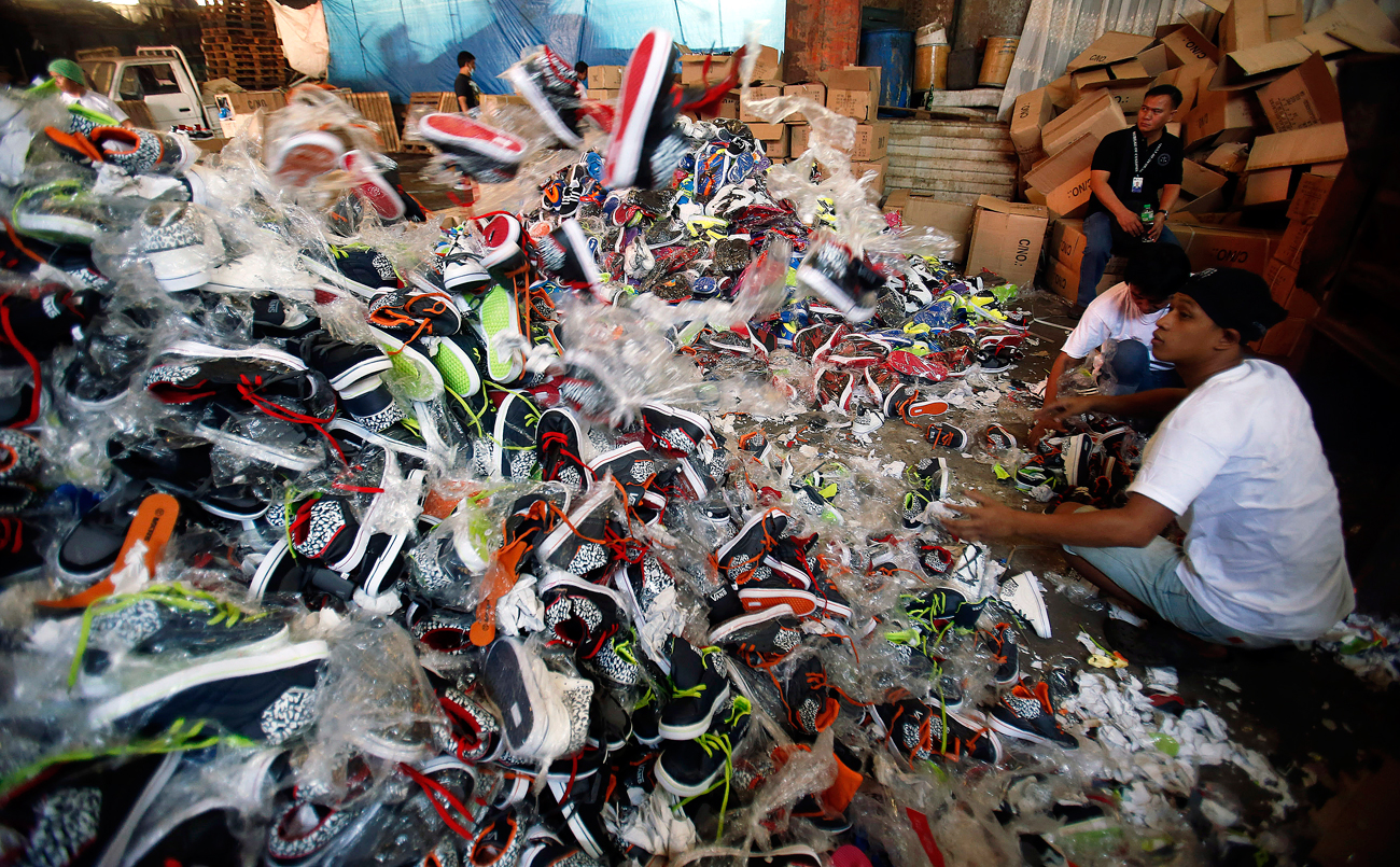A government statement said over 150,000 pairs of fake shoes and slippers of various brands including Nike, Adidas, Converse, Sketchers, North Face, Leaveland, Merrell, Lacoste, Vans, Havaianas and Ipanema worth $1.13 million, which were smuggled from China.