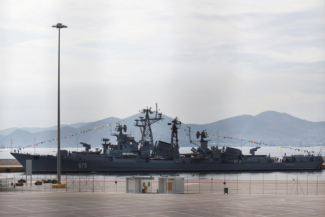 Russian naval destroyer Smetlivy is docked at the port of Piraeus where it will take part in an event connected with the Russian-Greek year of culture near Athens, Greece, Oct. 30, 2016.