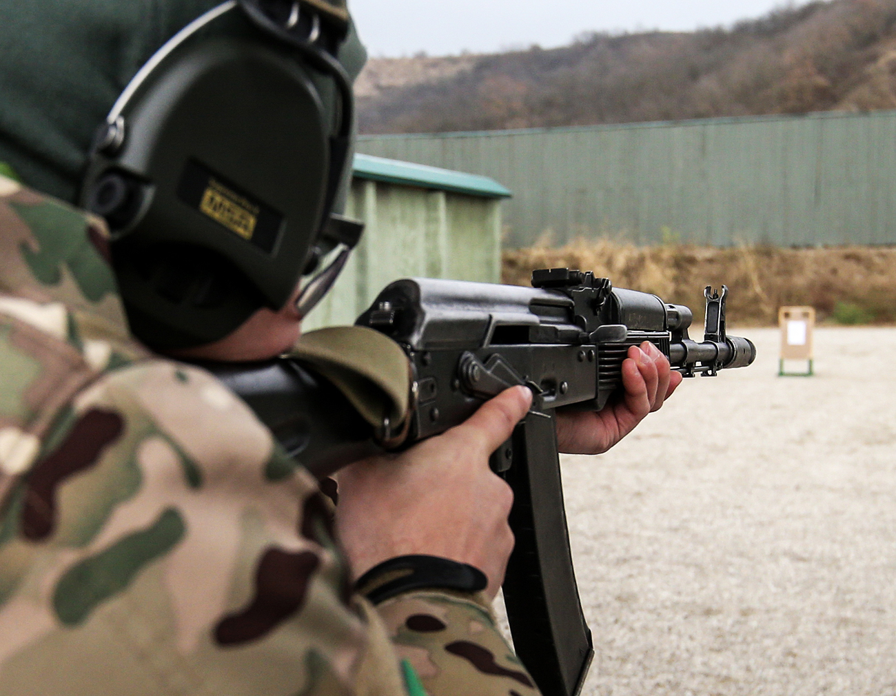 A weapon and tactical training session on the grounds of the International Training Center for Special Forces.