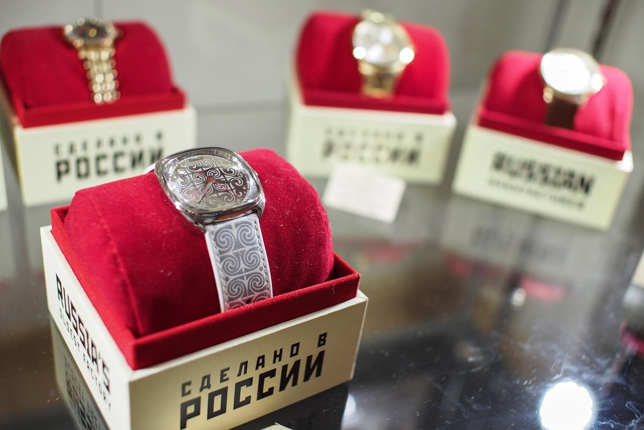 Watches at the Raketa watch company museum.