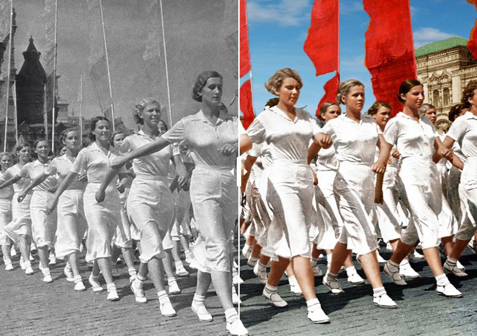 Des athlètes soviétiques sur la place Rouge durant une parade.  1937. Photo de Ivan Shaguine.