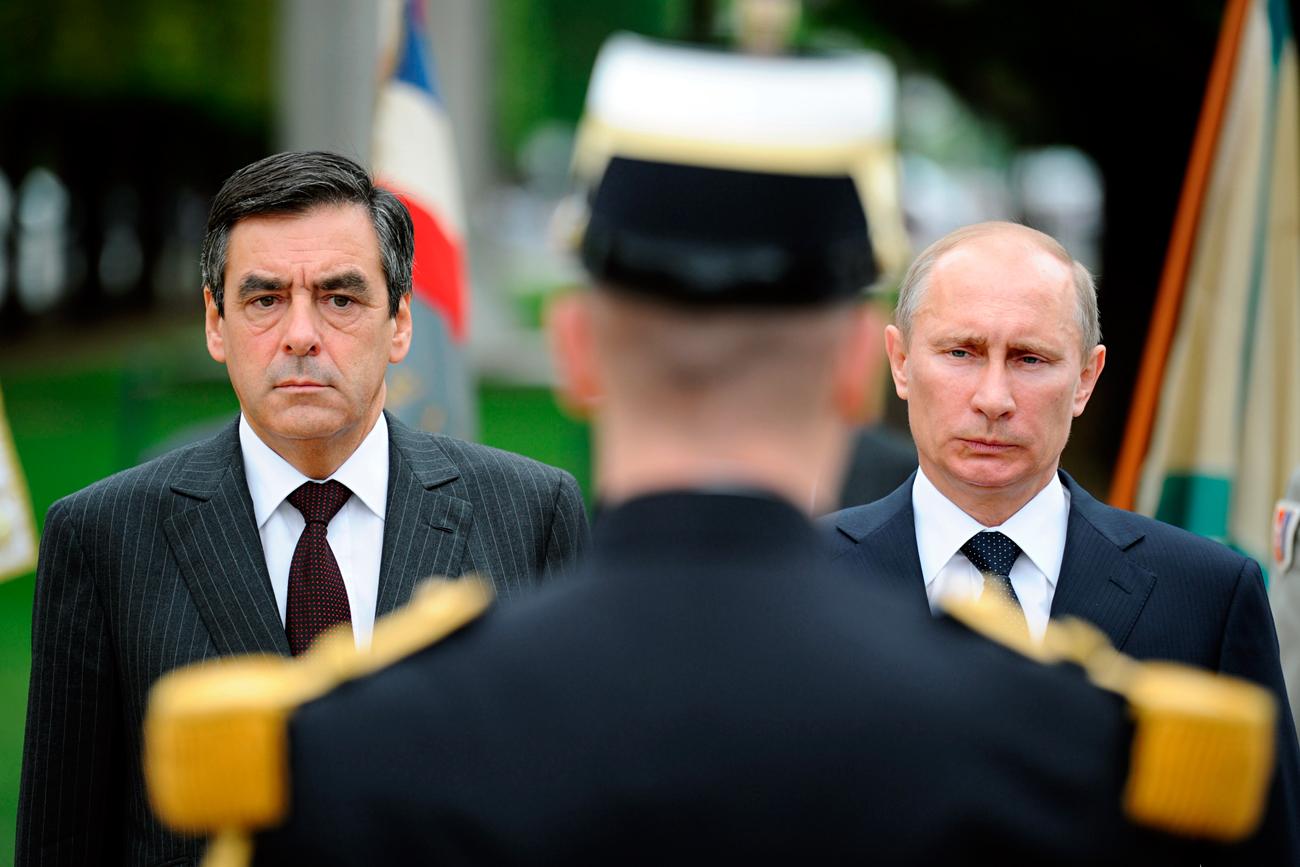 François Fillon et Vladimir Poutine à Paris en 2011.