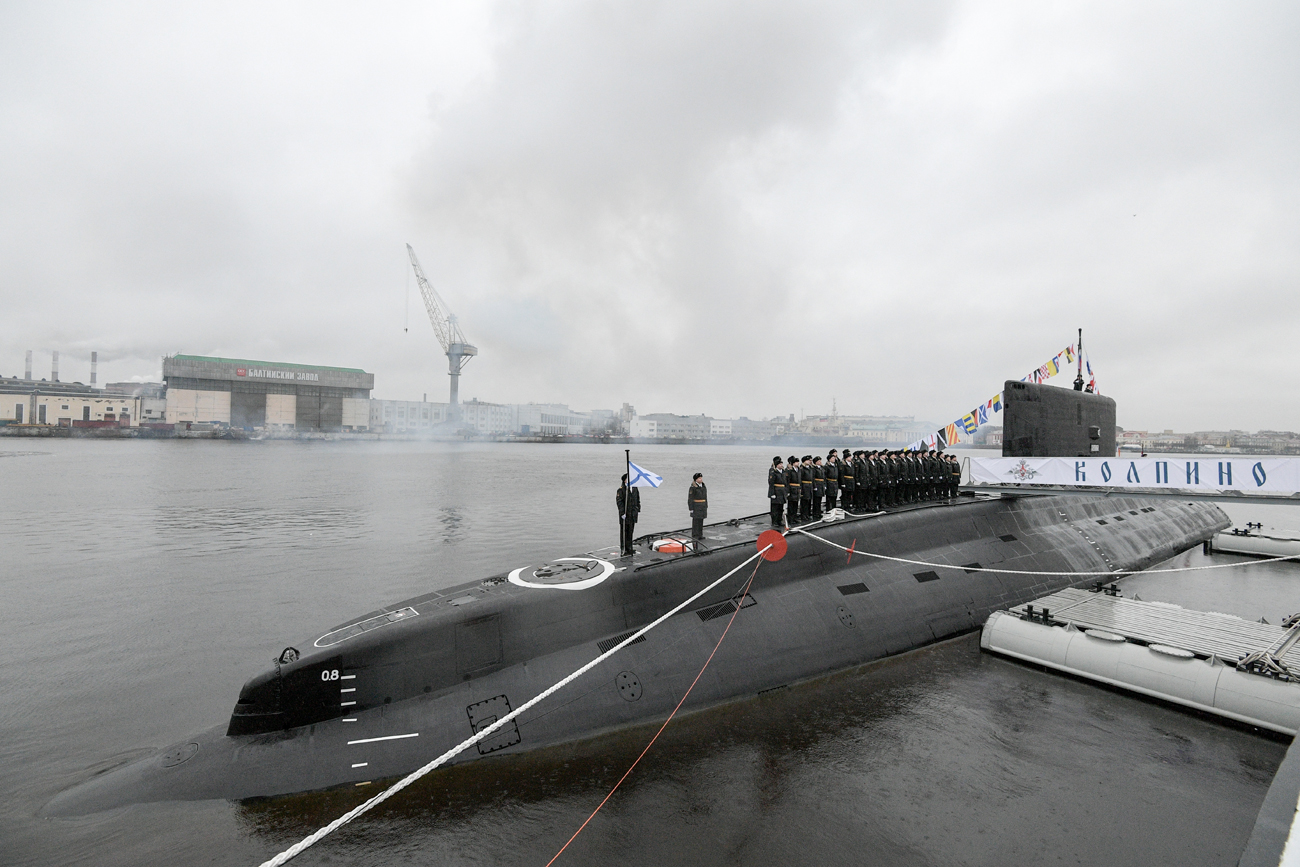 A ceremony to transfer the Kolpino submarine to the Russian Navy at the Admiralty Shipyards in St. Petersburg.