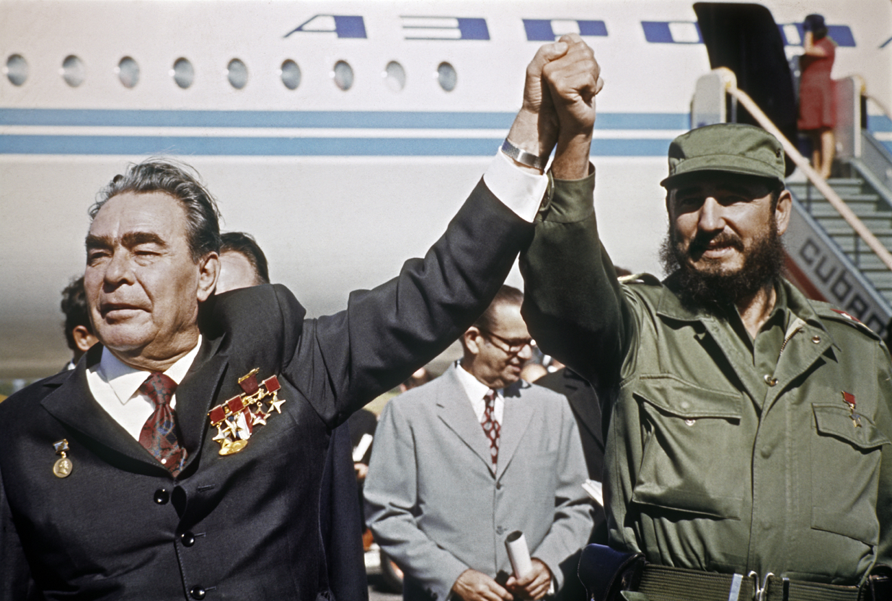 Cuban Prime Minister Fidel Castro, right, sees off General Secretary of the Central Committee of the Communist Party of the USSR and Chairman of the Presidium of the Supreme Soviet of the USSR, Leonid Brezhnev, at Jose Marti International Airport after Brezhnev's visit to the Republic of Cuba.