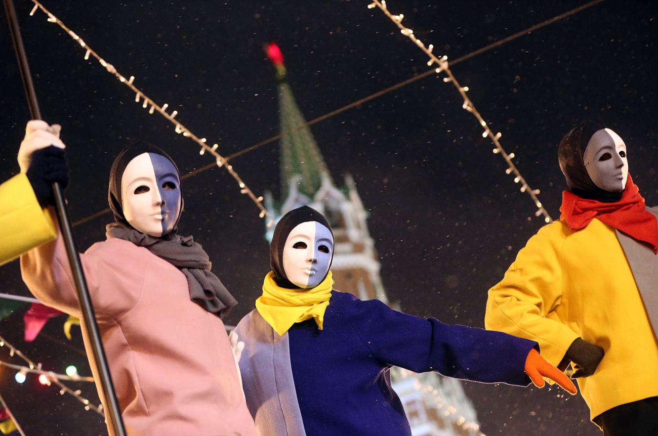 Performers at the opening of the GUM ice skating rink in Moscow's Red Square