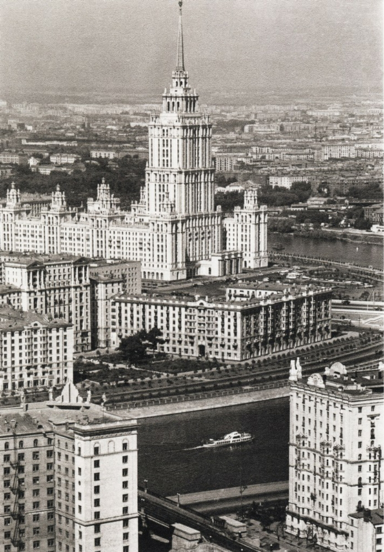 "In early 1947, the Council of Ministers adopted a resolution for the construction of seven ""skyscrapers"". These monumental skyscrapers built in the style of neoclassicism surround the center of the city like a fortress wall. // Ukraine Hotel, Moscow, 1960"