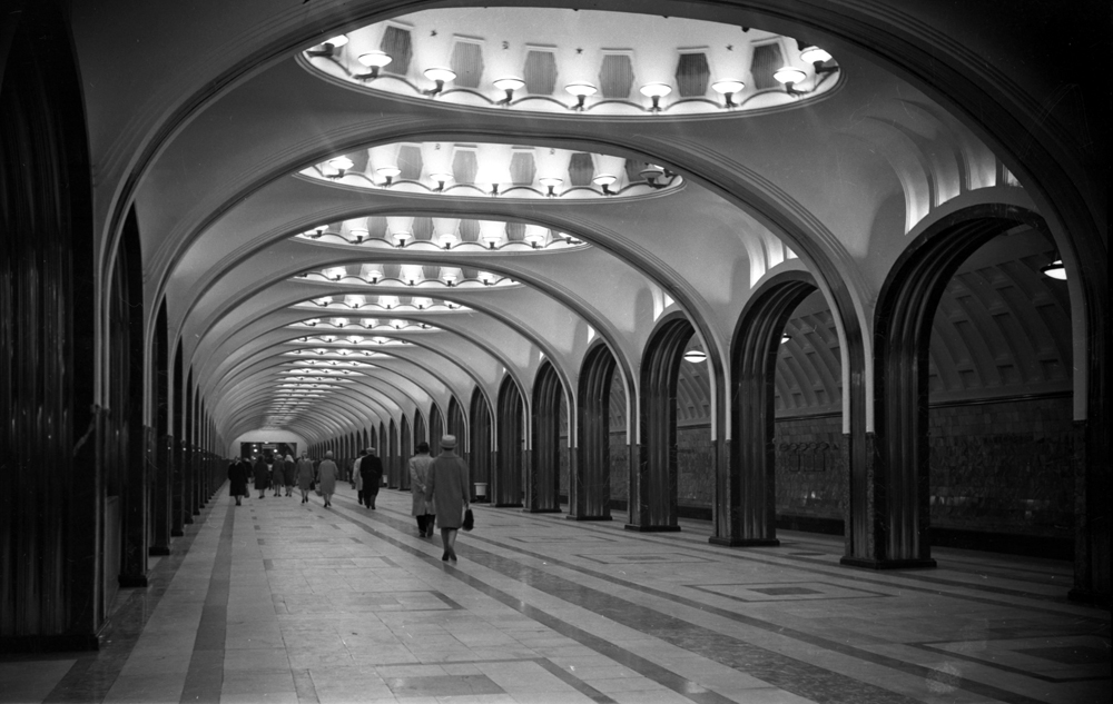 Famous all over the world for the extravagance and beauty of its stations, Moscow metro has been serving people since 1935, and has grown into one of the world's largest and busiest underground rail networks. In 1939 a model of Mayakovskaya was taken to the Universal Exhibition in New York, for which another ceiling with planes and the Kremlin star in the night sky was created. The project received the main prize. // Mayakovskaya metro station, Moscow, 1950s