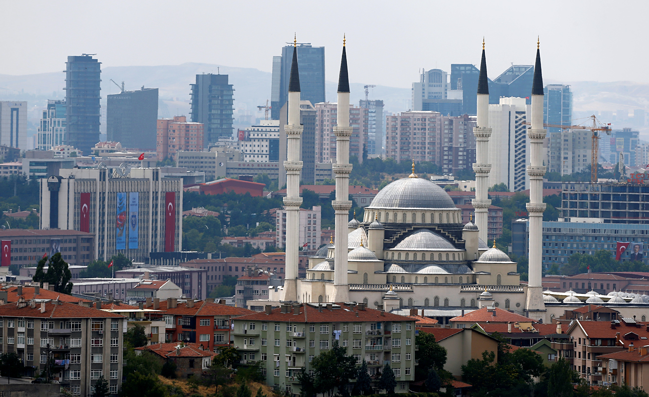The Turkish capital's biggest mosque Kocatepe is pictured in Ankara, Turkey, July 20, 2016.