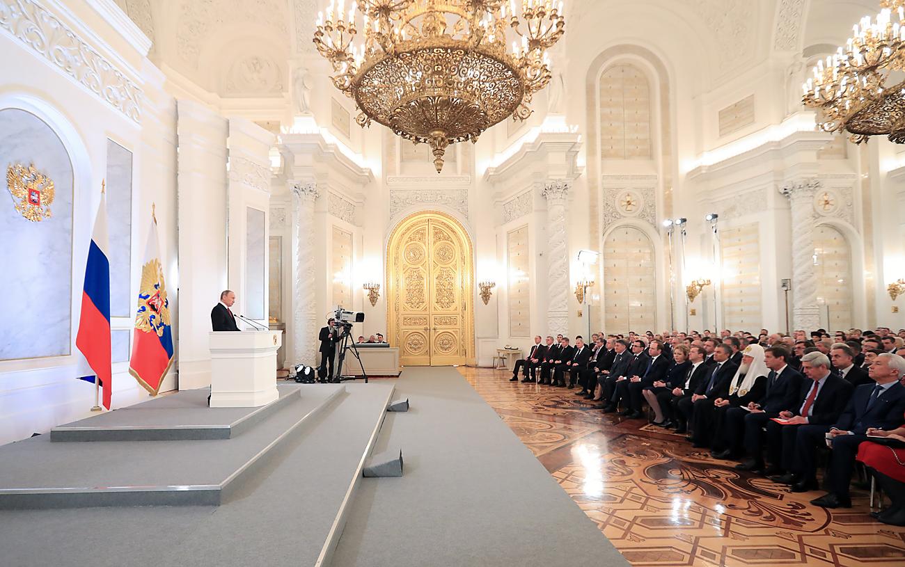 Претседателот на РФ Владимир Путин во обраќањето до Федералното Собрание во Кремљ. 1 декември 2016, Москва, Русија