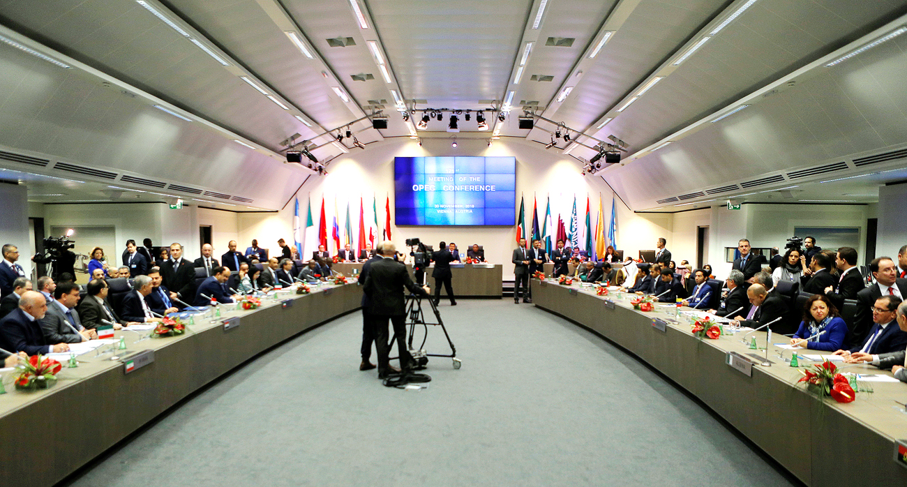 A general view of the beginning of a meeting of the Organization of the Petroleum Exporting Countries (OPEC) in Vienna, Austria.