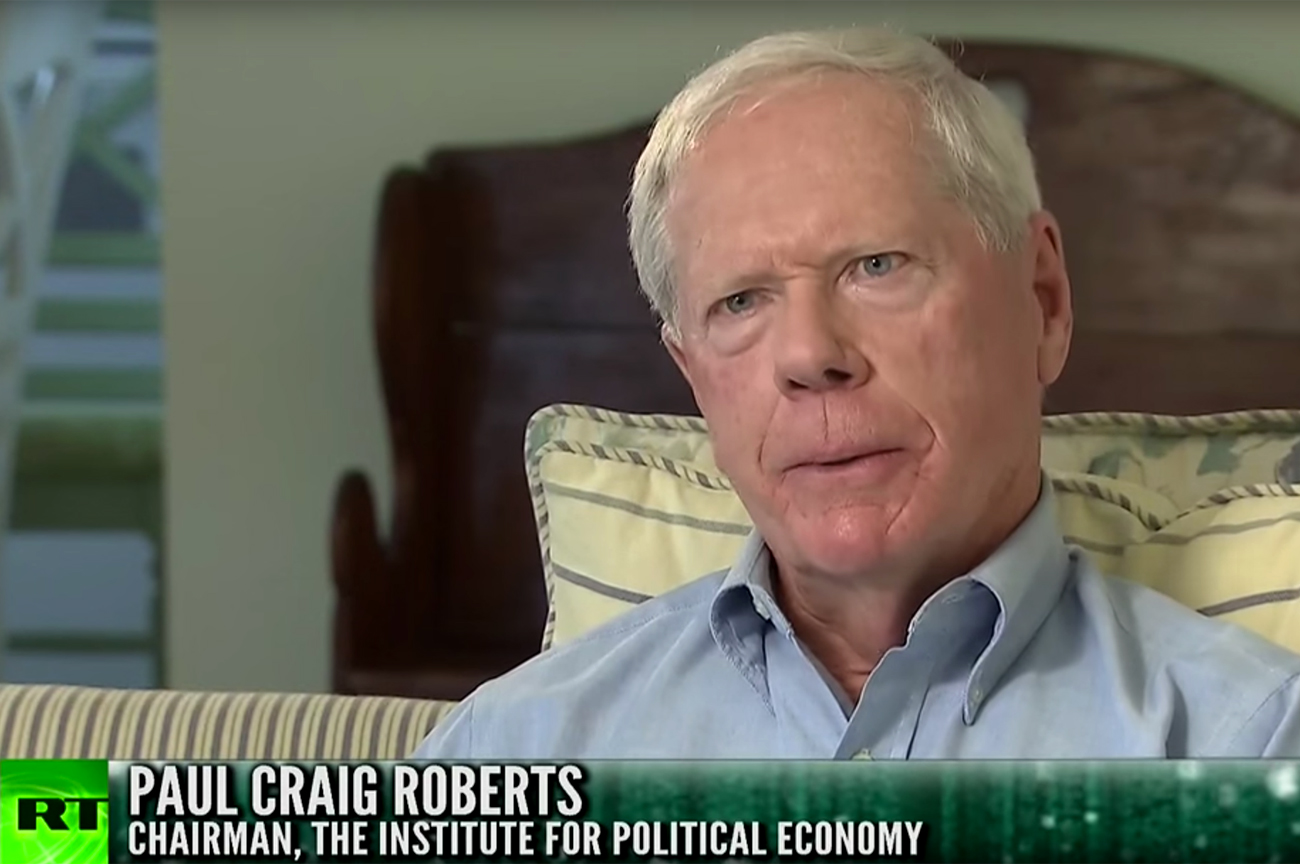 Screenshot from RT interview with Paul Craig Roberts, Nov. 25, 2015.