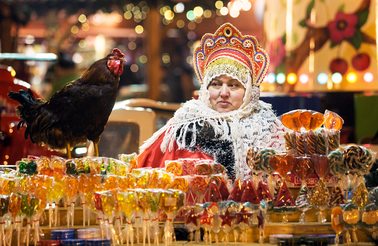 MOSCOW, RUSSIA - DECEMBER 5, 2016: Sugar candy for sale at a Christmas market in Moscow's Red Square.
