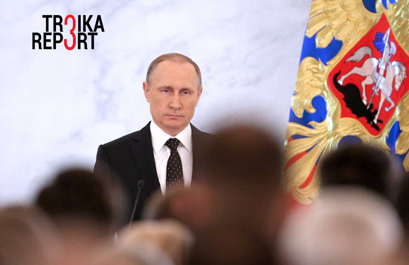Russia's President Vladimir Putin delivers his annual address to the Federal Assembly, at the Moscow Kremlin.