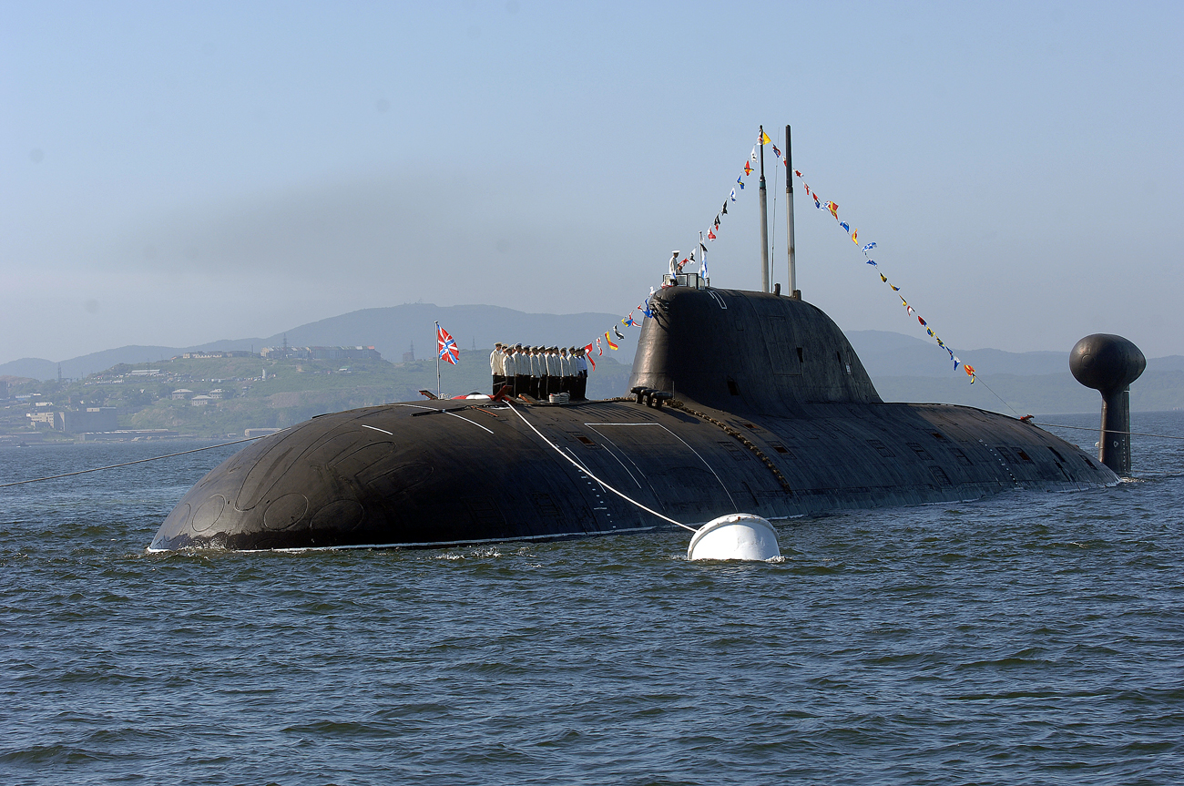 "A picture of a Project 971 Shchuka-B type (NATO reporting name ""Akula"") nuclear-powered attack submarine, a similar to the Russian submarine K-152 Nerpa, a 9140 tonne Project 971 Shchuka-B type nuclear-powered attack submarine, on board of which at least 20 Russians choked to death on poisonous gas in an accident"