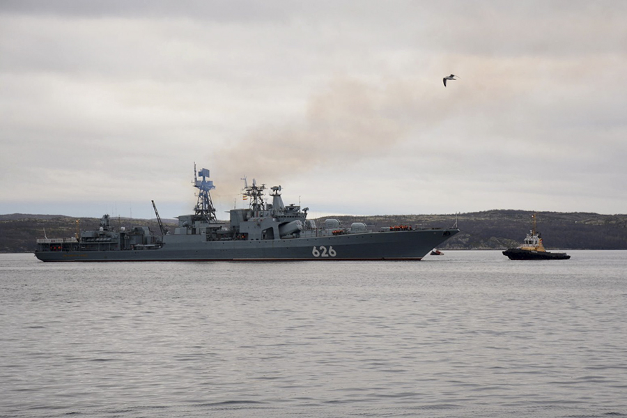 Russian Northern Fleet's large anti-submarine warfare ship Vice-Admiral Kulakov.