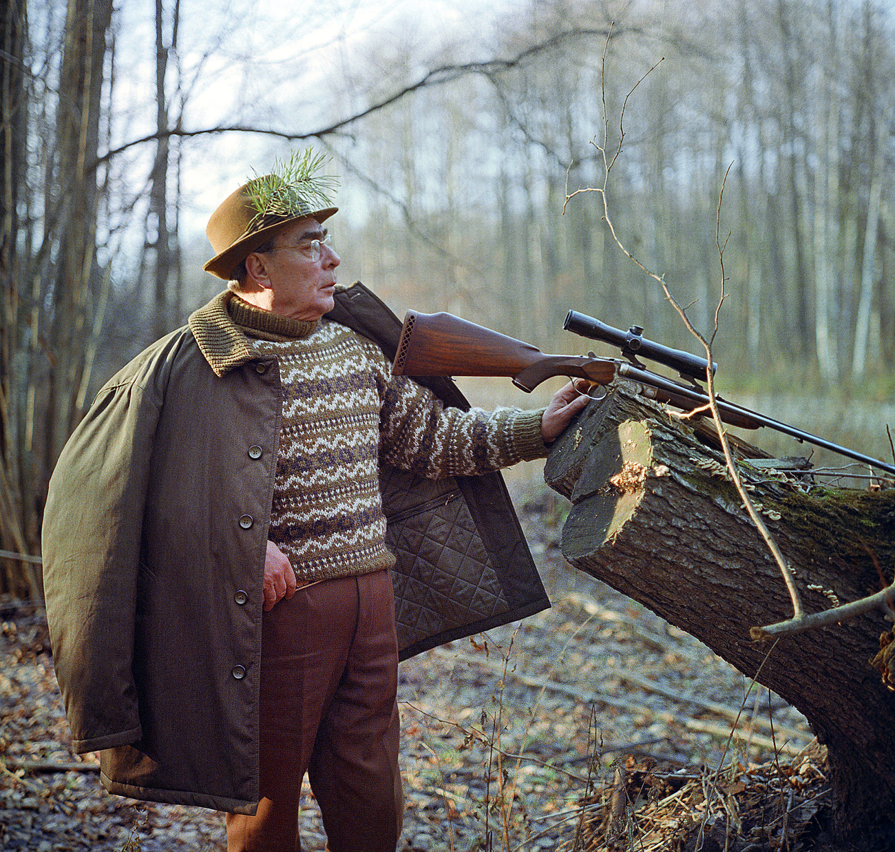 Ukrainian SSR. General Secretary of the Central Committee of the CPSU Leonid Brezhnev at the hunt in Zalesye