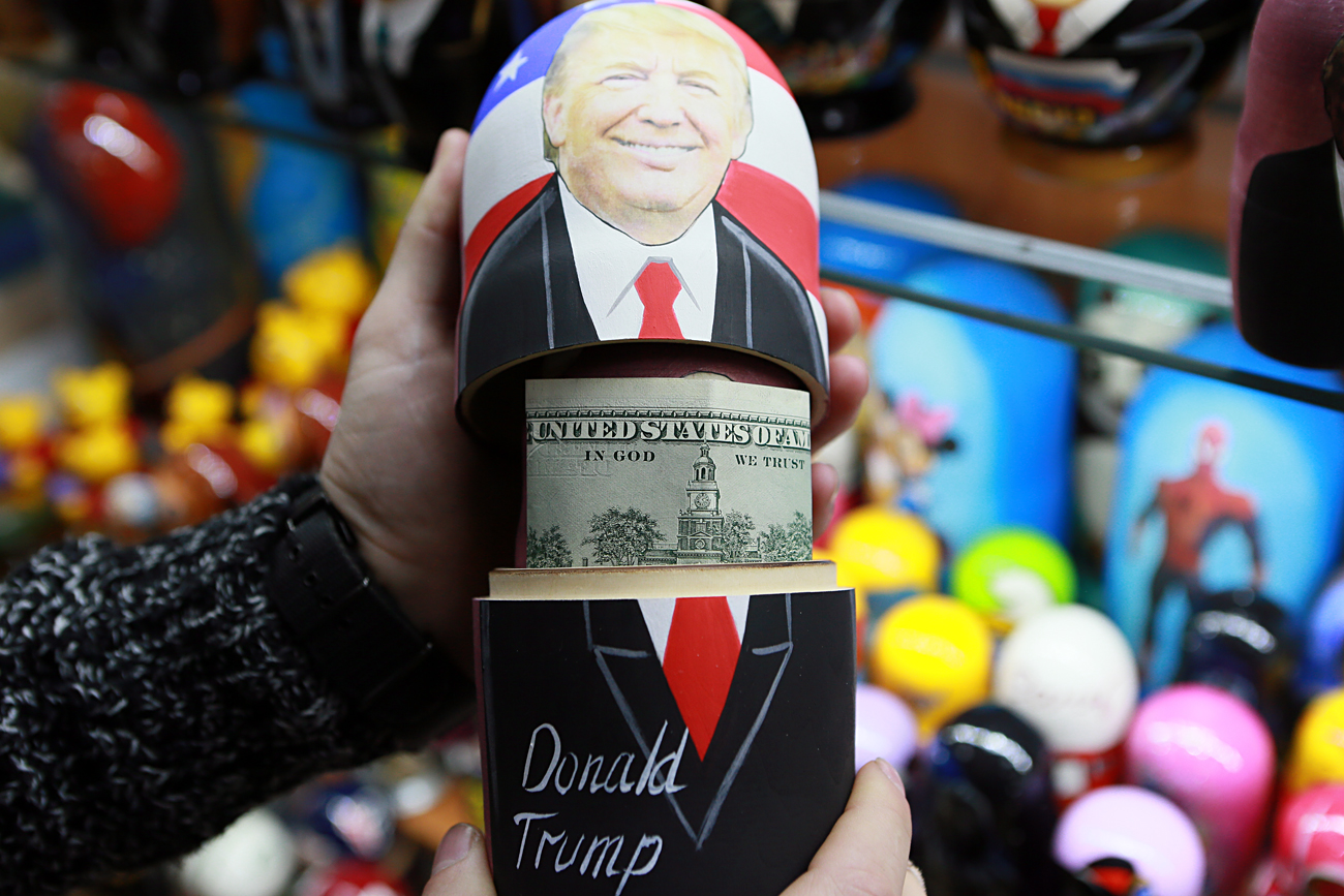 Politics is now one of the main drivers in the souvenir market. Photo: Russian matryoshka dolls with portraits of U.S. presidential candidate Donald Trump at a souvenir shop.