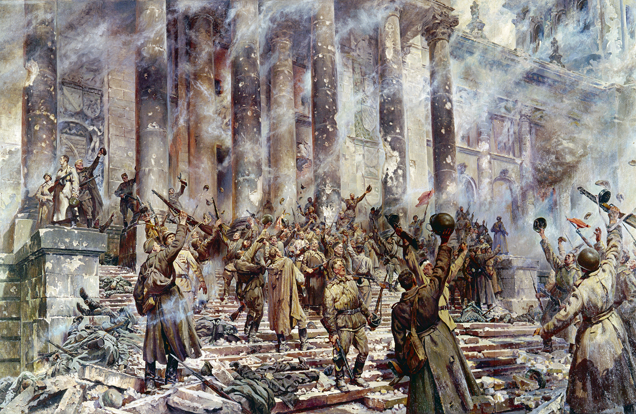 "Reproduction of ""Victory"" painting by artist P. Krivonosov (1911-1967). Oil on canvas. Grekov War Artists' Studio"