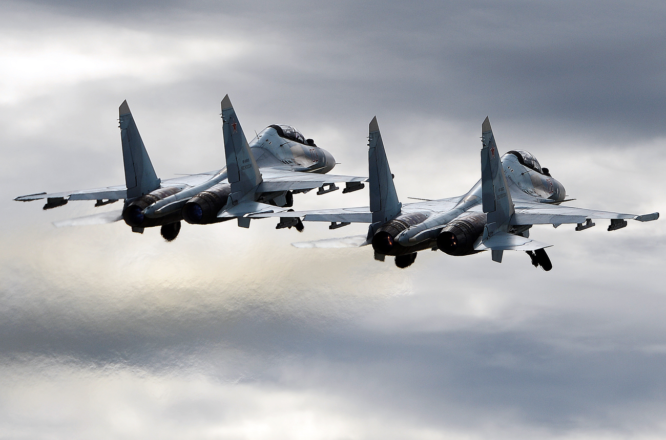 Полет на Су-30СМ по време на военното изложение Армия-2016