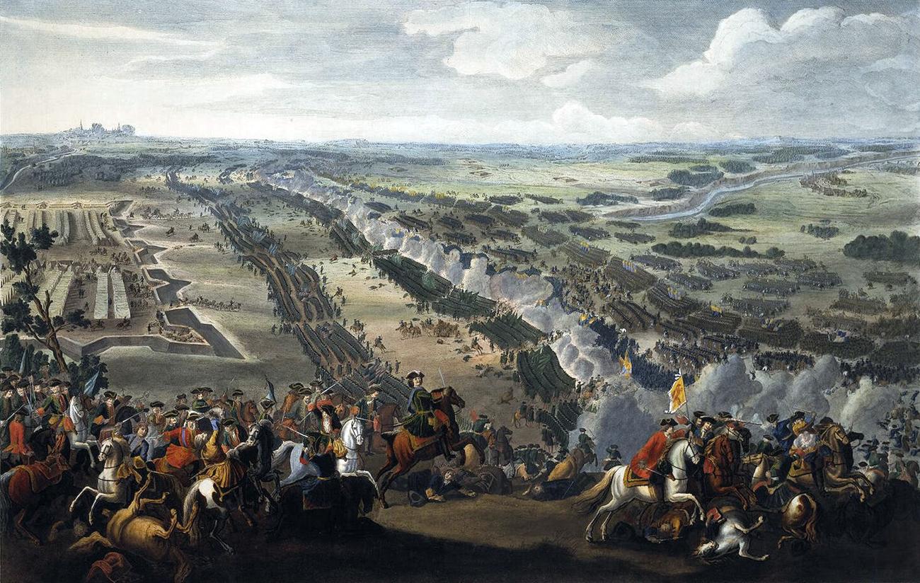 Битката при Полтава. Худ. Денис Мартен, 1726 г.