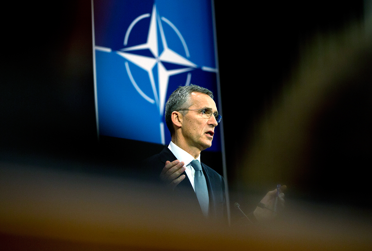 NATO Secretary General Jens Stoltenberg addresses a news conference after a meeting of the NATO-Ukraine Commission at foreign ministers level at NATO headquarters in Brussels.