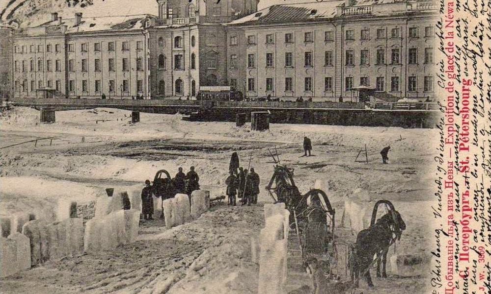 Before the invention of the fridge, men rode on sleighs to the middle of the frozen river and cut large pieces of ice to carry back to the city.