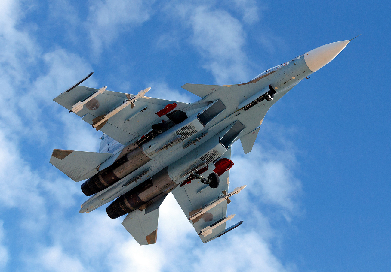 A Russian Sukhoi Su-30SM fighter aircraft.