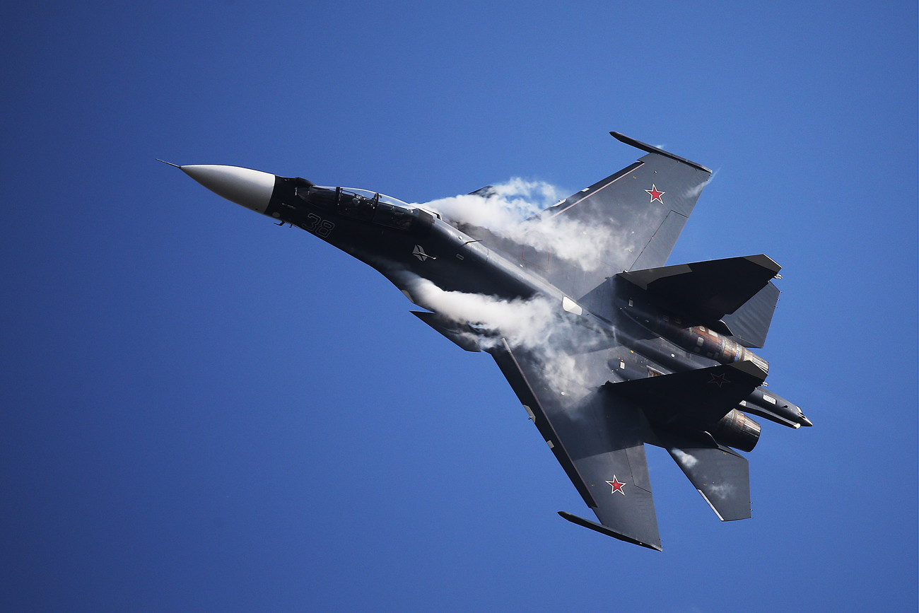A Sukhoi Su-30SM fighter jet during a demonstration flight at the 12th MAKS International Aviation and Space Salon in Zhukovsky.
