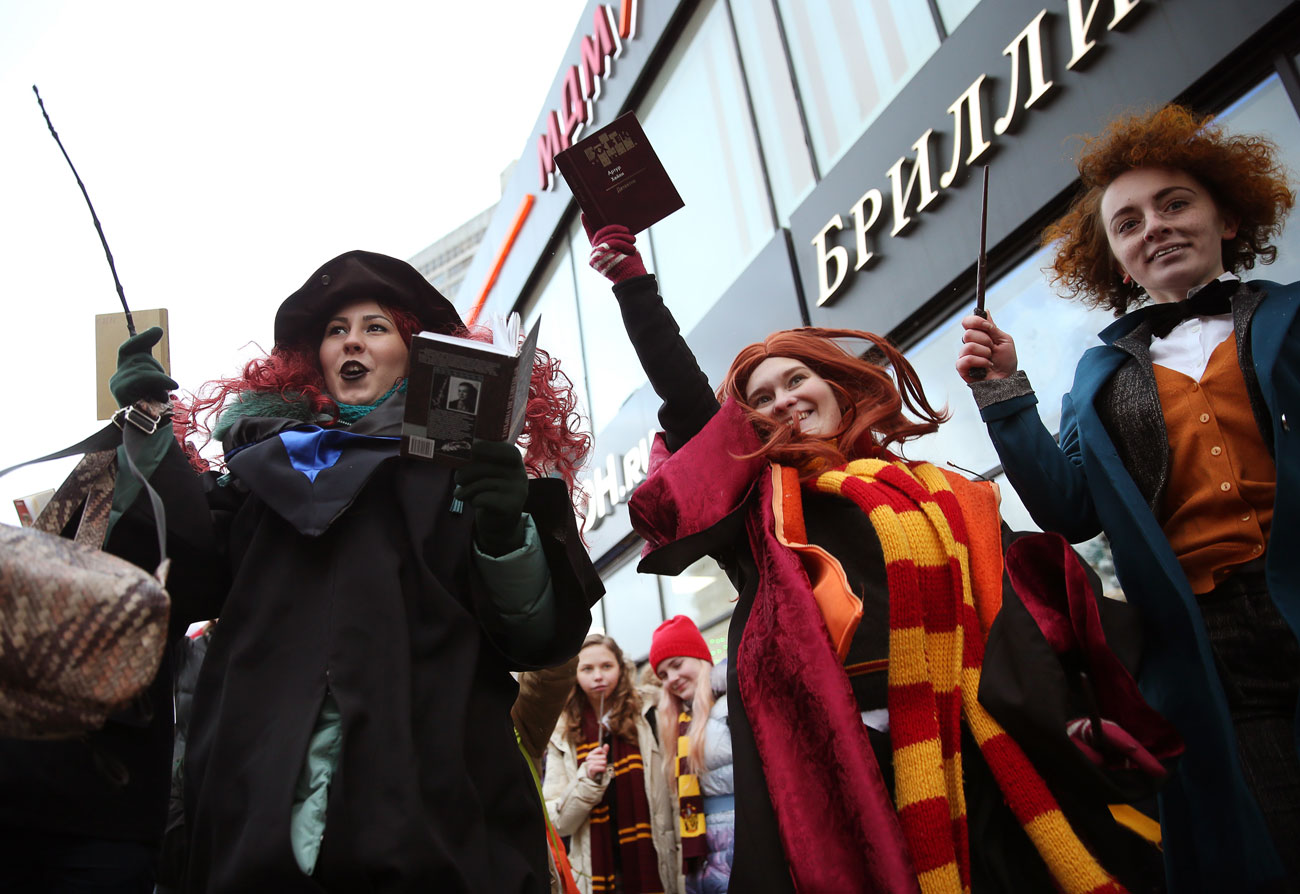 "MOSCOW, RUSSIA - DECEMBER 11, 2016: People dressed as characters from Harry Potter novels take part in a parade in Novy Arbat Street. The parade marks the launch of the Russian edition of J.K.Rowling's new book titled ""Harry Potter and the Cursed Child. Parts One and Two""."