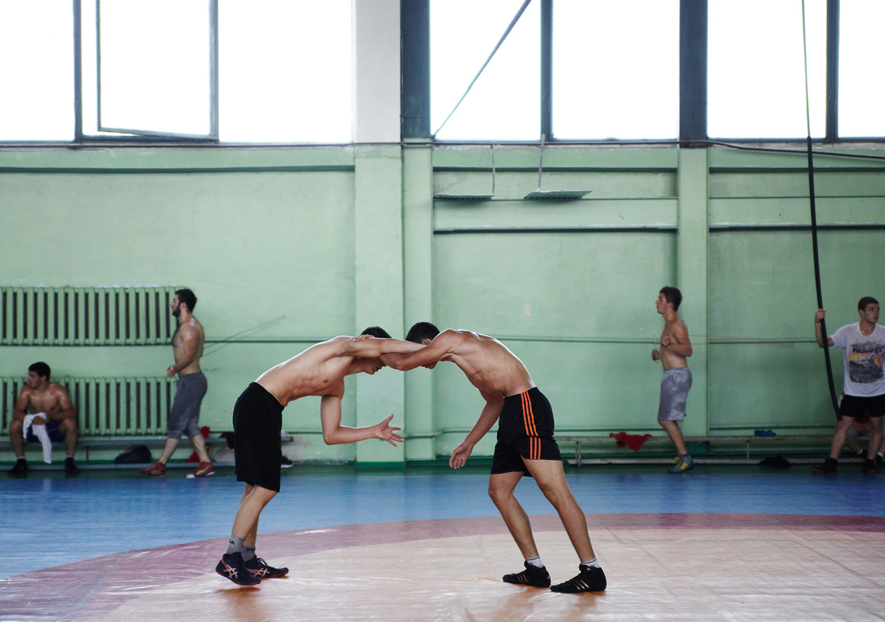 A wrestling class in Vladikavkaz, the Ossetian capital.