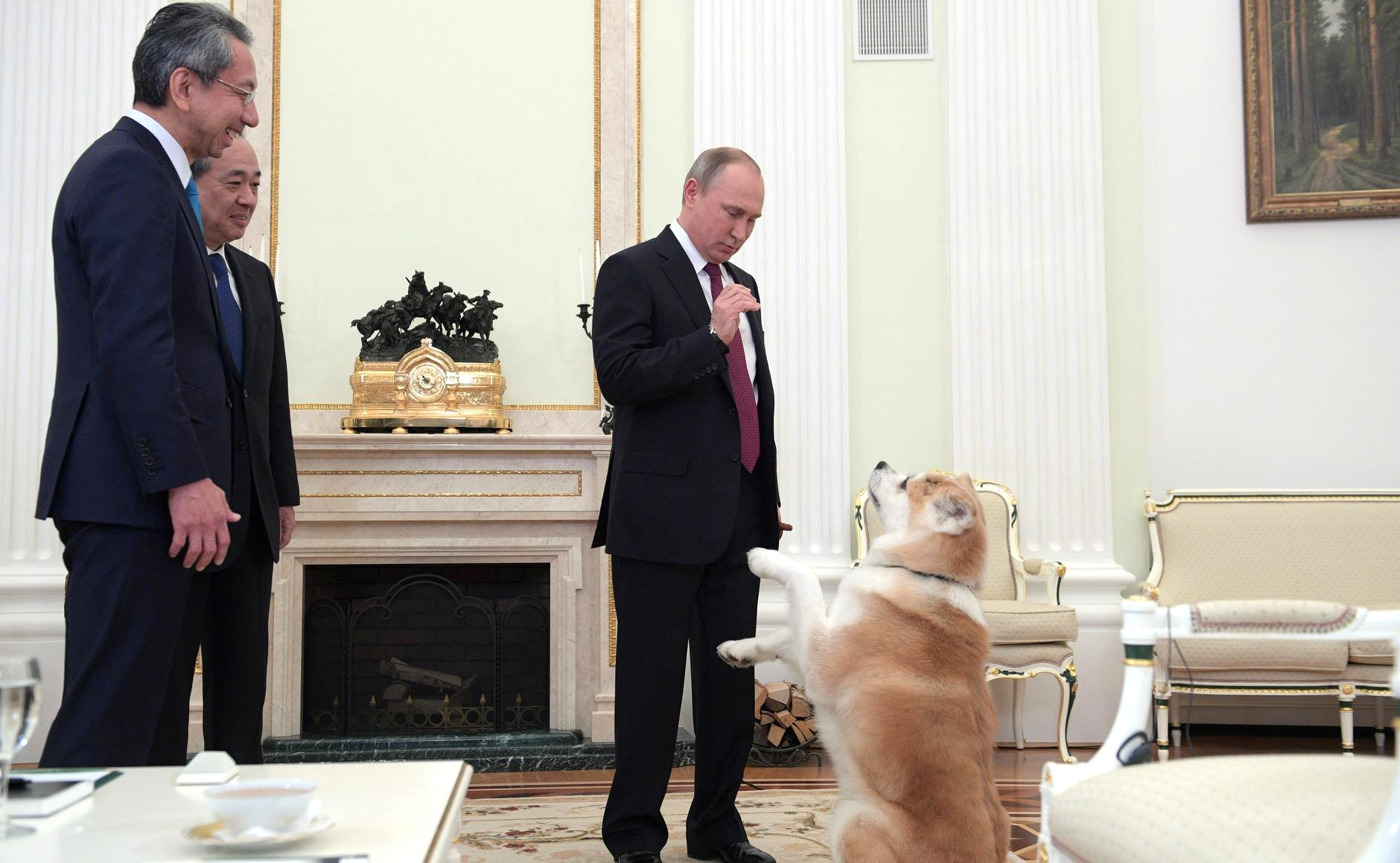Putin introduces journalists to his Japanese dog, Yume.