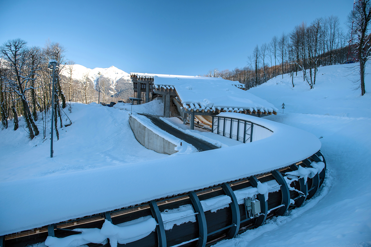 "Russian presidential press secretary Dmitry Peskov has said that the decision was politicized. Photo: ""Sanki"" bobsleigh complex in the Adler district of Sochi."
