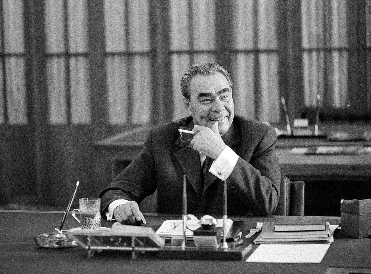 Even though Soviet citizens could get in trouble with the authorities for telling political jokes, during the Era of Stagnation, as the Brezhnev period was known, many people made fun of the all-seeing Communist Party and its leader. Photo: Leonid Brezhnev in his study in the Kremlin, Moscow.