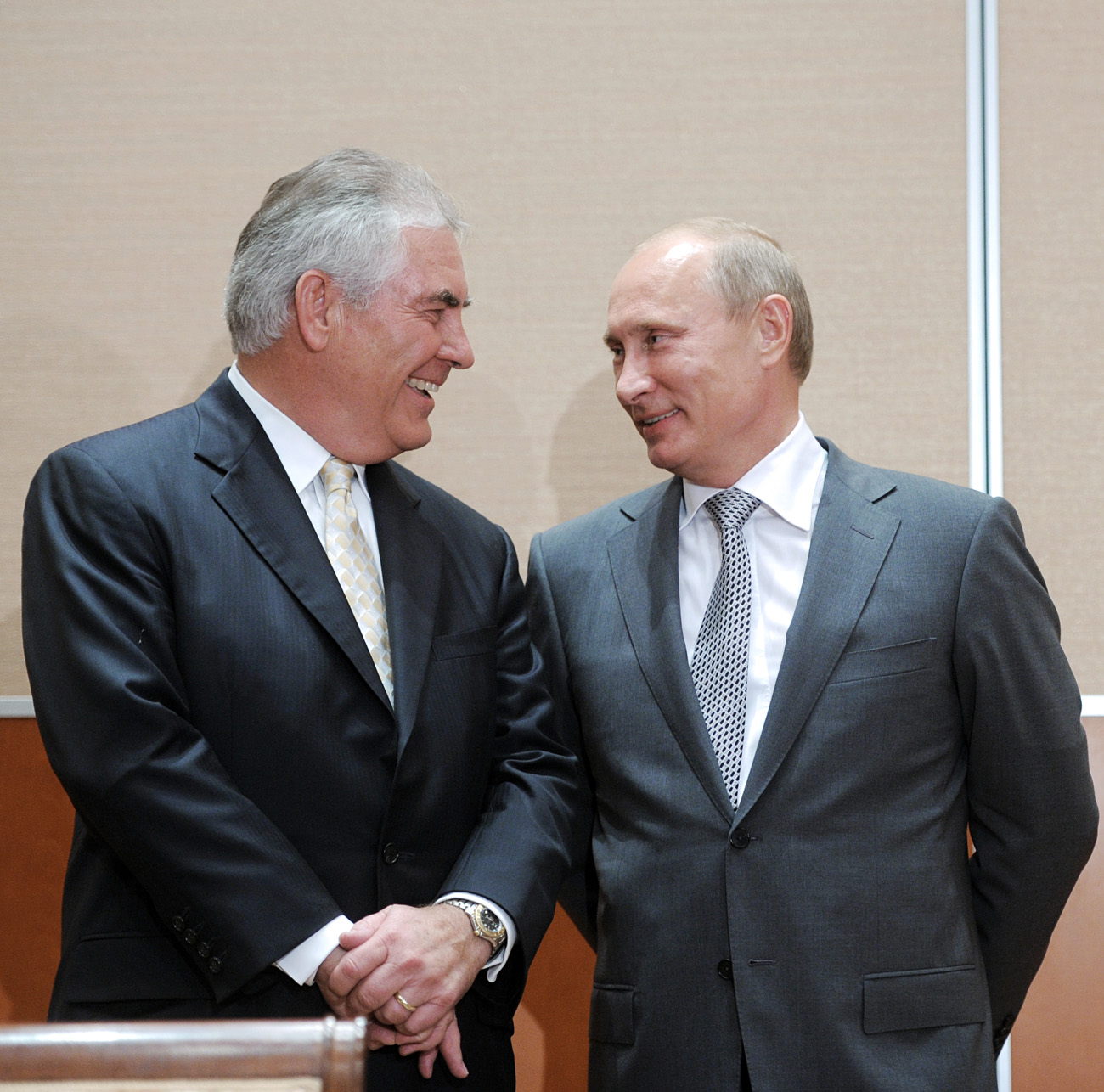 Russia's Prime Minister Vladimir Putin and ExxonMobil President and Chief Executive Officer Rex Tillerson attended the ceremony of signing of the Rosneft-ExxonMobil strategic partnership agreement, 2011.