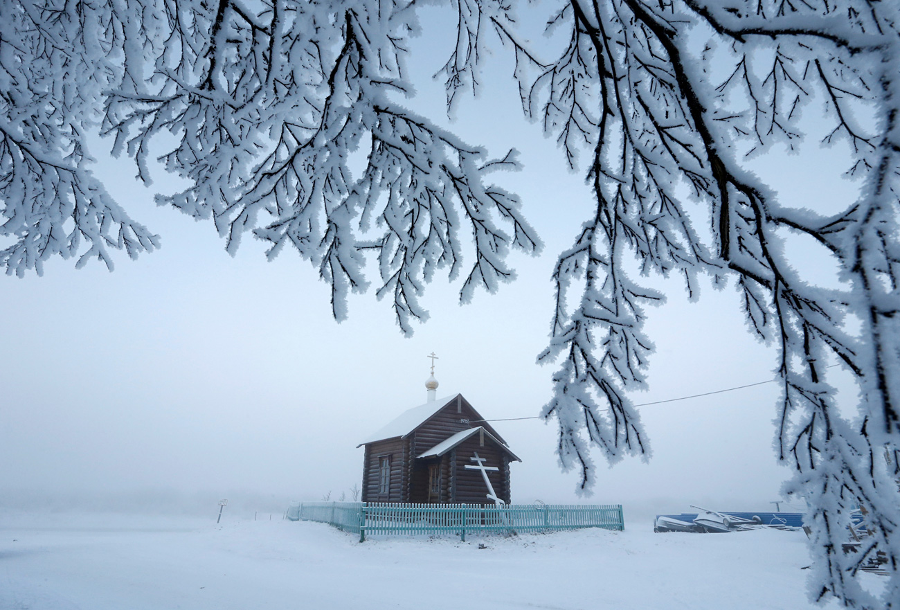 An Orthodox church is seen in the settlement of Krasnoye in Nenets Autonomous District, Russia