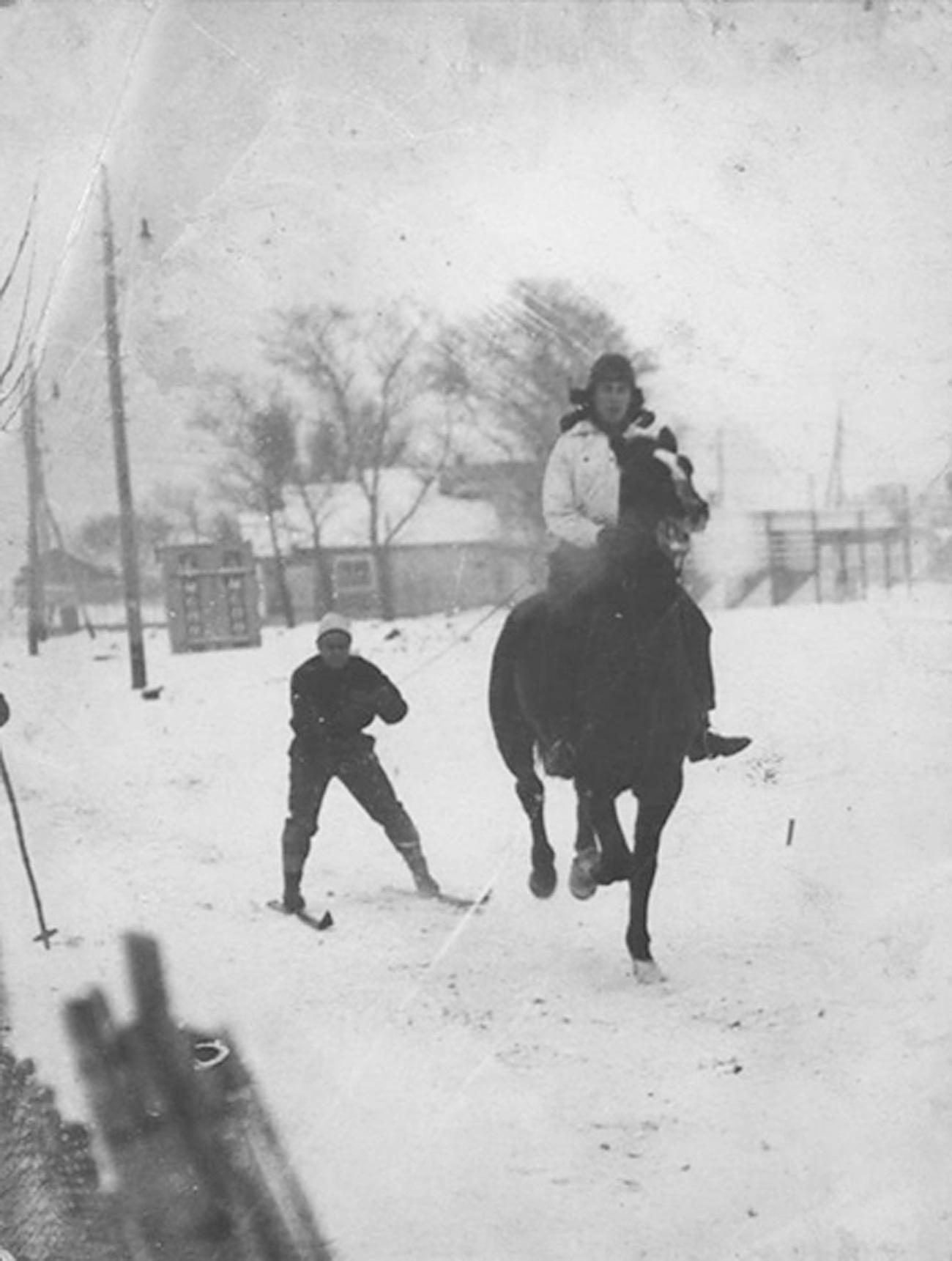 Loisirs d'hiver. Crédit : archives du parc Gorki.