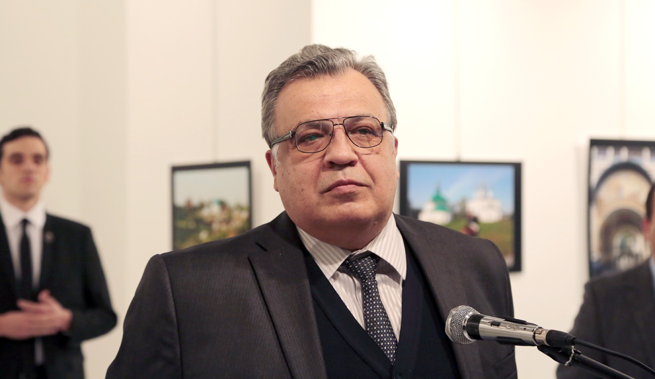 The Russian Ambassador to Turkey Andrei Karlov speaks a gallery in Ankara, Dec. 19, 2016.
