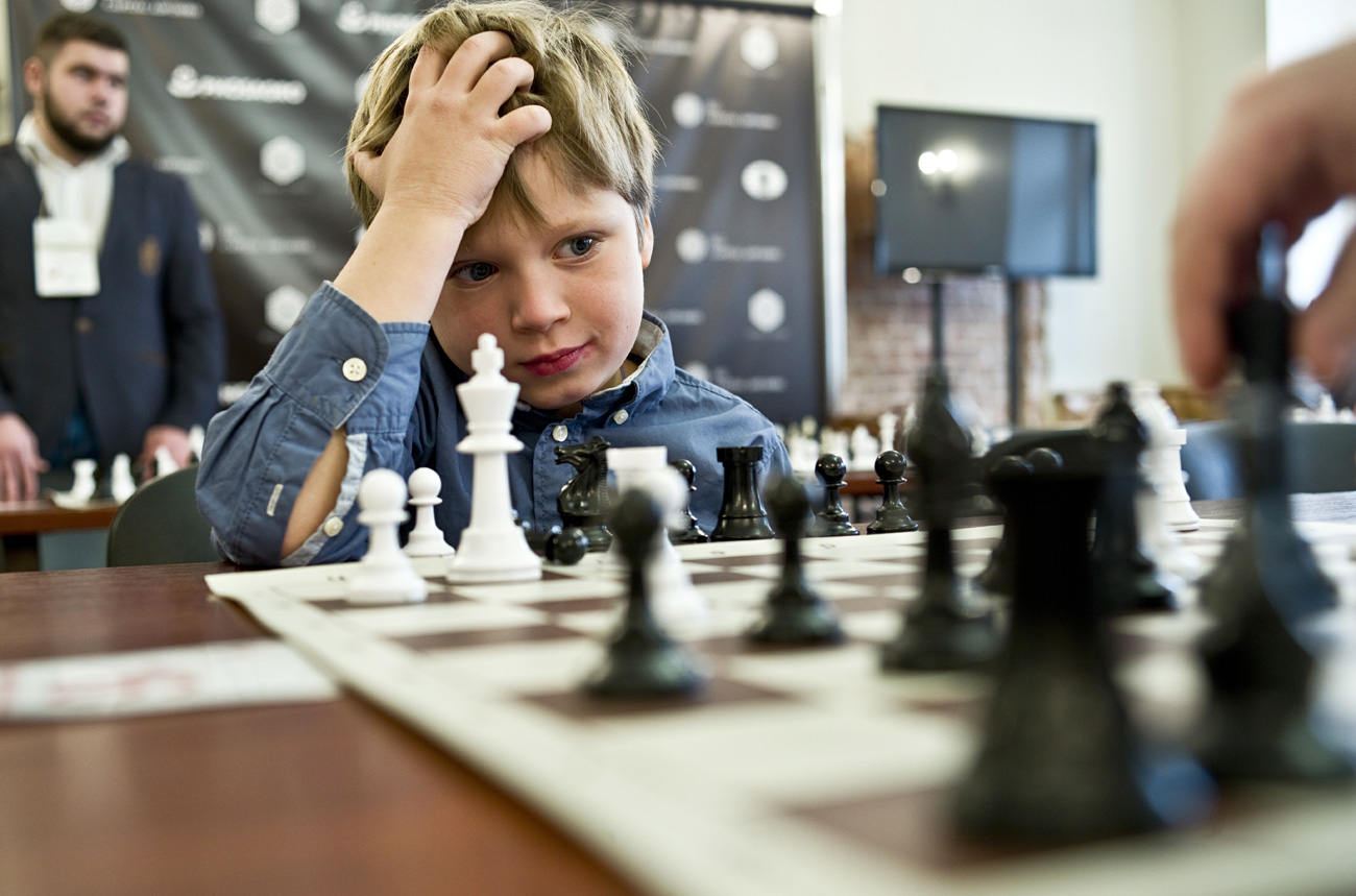 A participant during the 10th Third League Grand Baby Chess Cup of the Russian Chess School at the Botvinnik Central House of Chess.