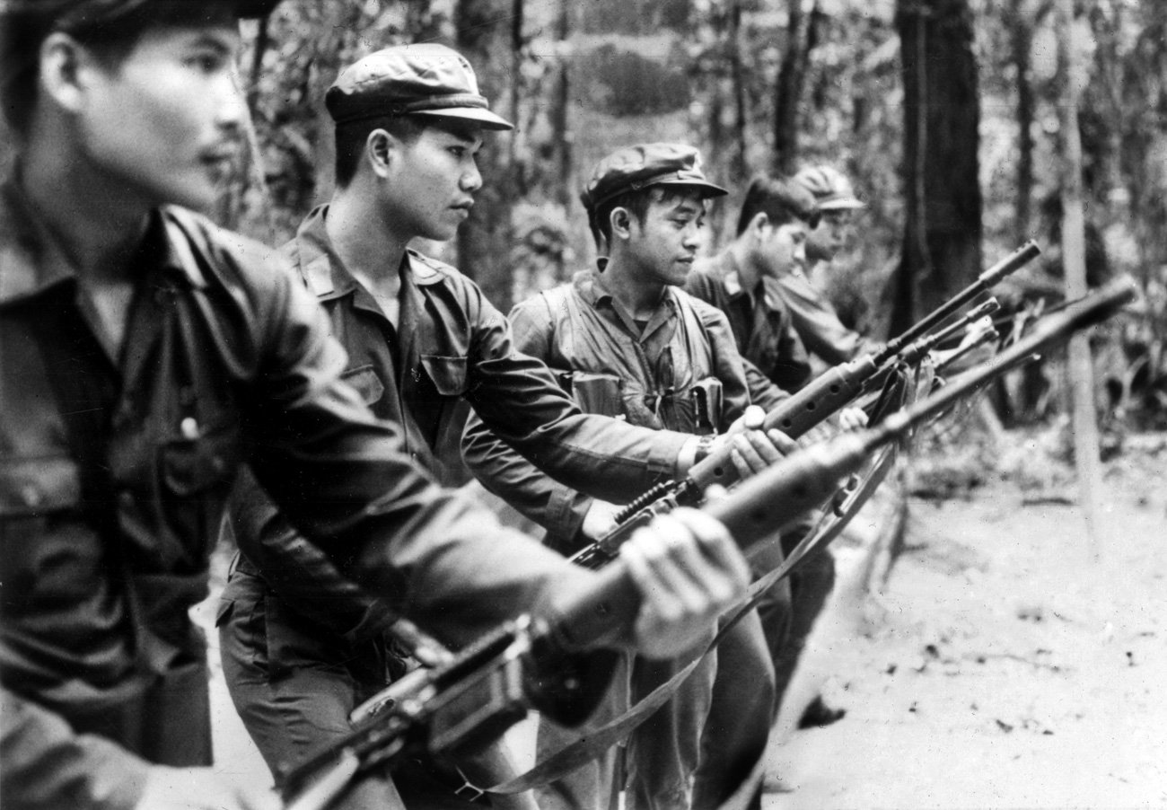 The Communist Party of Thailand (CPT) troops go through training routines for the benefit of foreign journalists in the CPT basecamp in the jungles of Southern Thailand, Oct. 16, 1978.