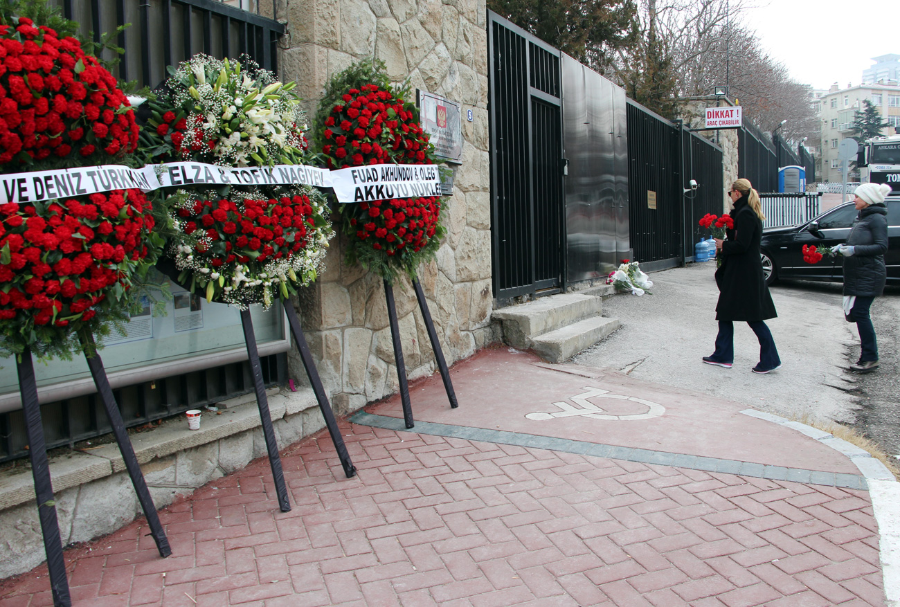 Wreaths at the Russian Embassy in Ankara in memory of the murdered Russian Ambassador to Turkey Andrei Karlov, Dec. 20.