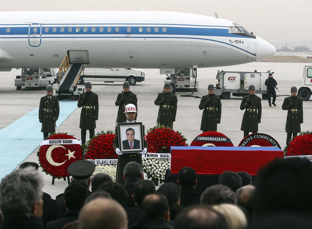 Farewell ceremony with Russian Ambassador Andrei Karlov in Turkey in Ankara airport